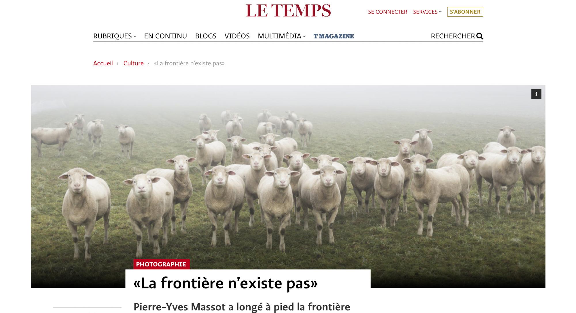Interview dans Le Temps à propos de la série sur la frontière linguistique dans le canton de Fribourg en Suisse, du Vully à la Wandflue, par le photographe Pierre-Yves Massot.