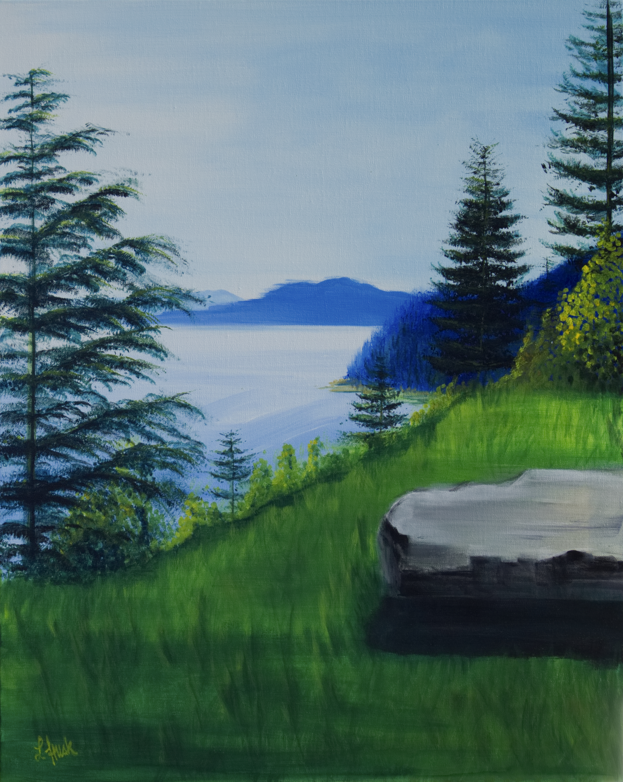 A Place to Sit  (original, acrylic on canvas, 24 in x 30 in / 2 ft x 2.5 ft)