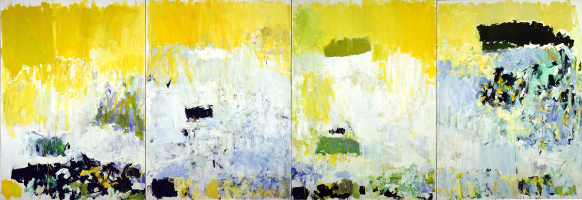 Salut Tom, 1979,  Oil on Canvas 4 panels, 110 7/16 x 316 in., National Gallery of Art, Corcoran Collection, copyright Estate of Joan Mitchell