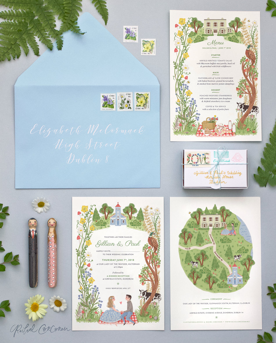 Wildflower Wedding Invitation Design by Rachel Corcoran