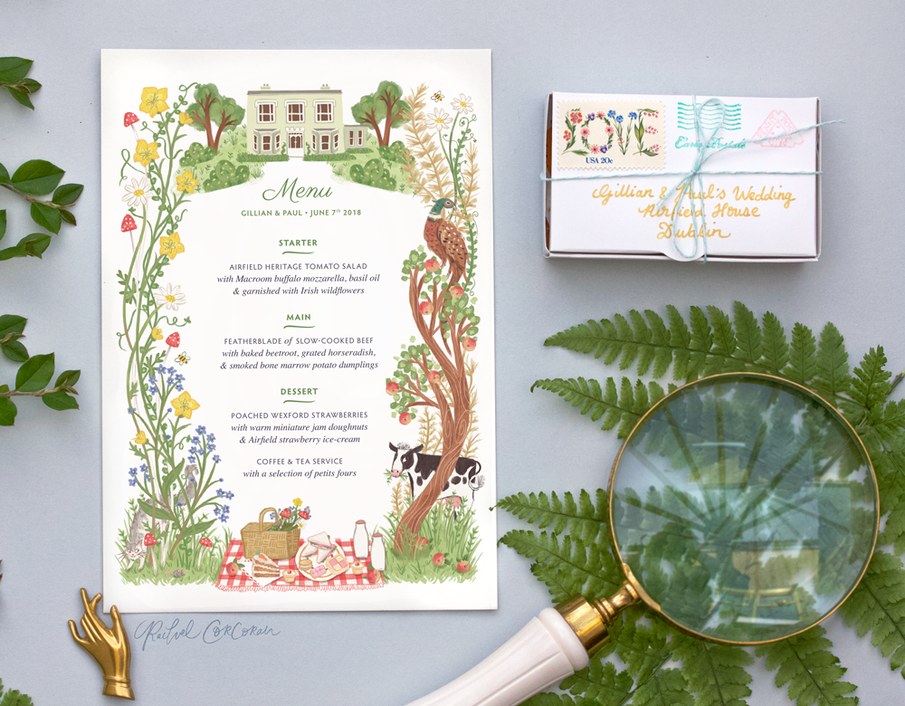 Wildflower Wedding Menu Design by Rachel Corcoran