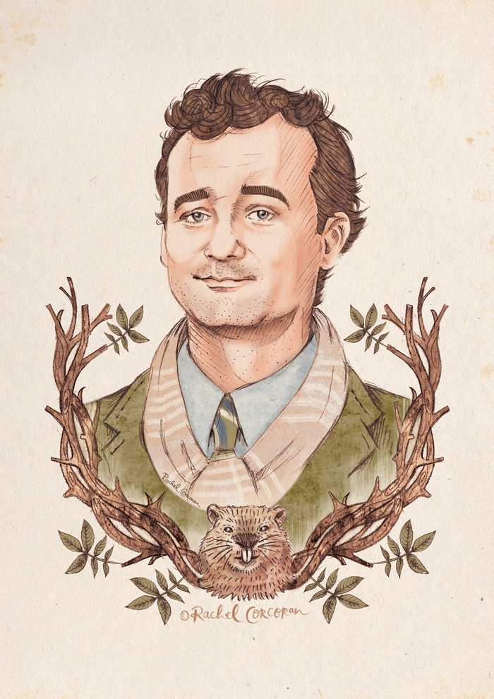 Bill Murray Groundhog Day illustration by Rachel Corcoran