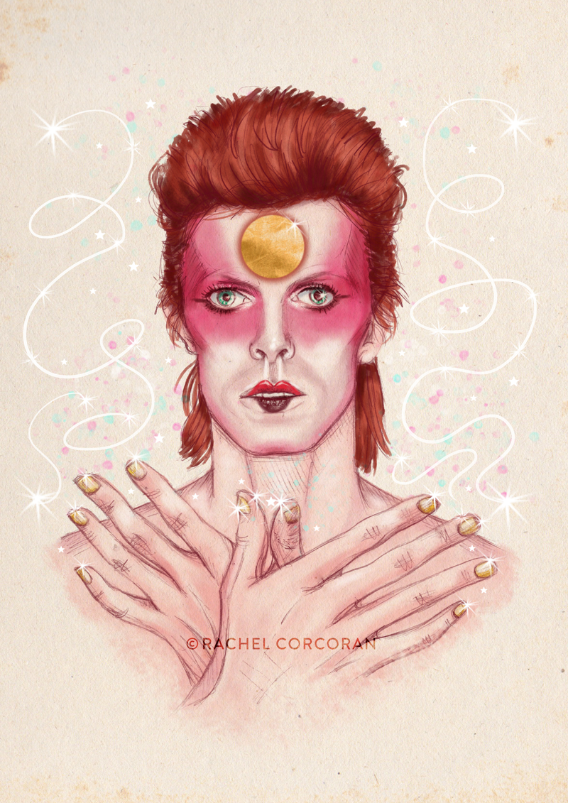 David Bowie Ziggy Stardust illustration by Rachel Corcoran