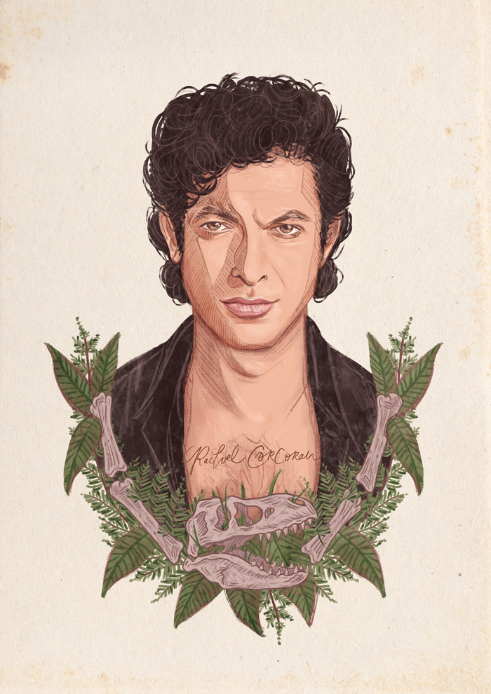 Jeff Goldblum Jurassic Park illustration by Rachel Corcoran