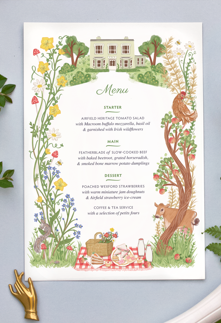 Airfield Afternoon Tea menu illustration by Rachel Corcoran