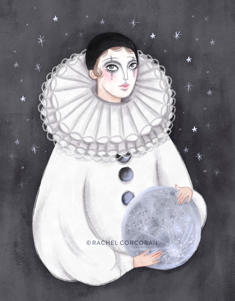 Pierrot clown illustration by Rachel Corcoran