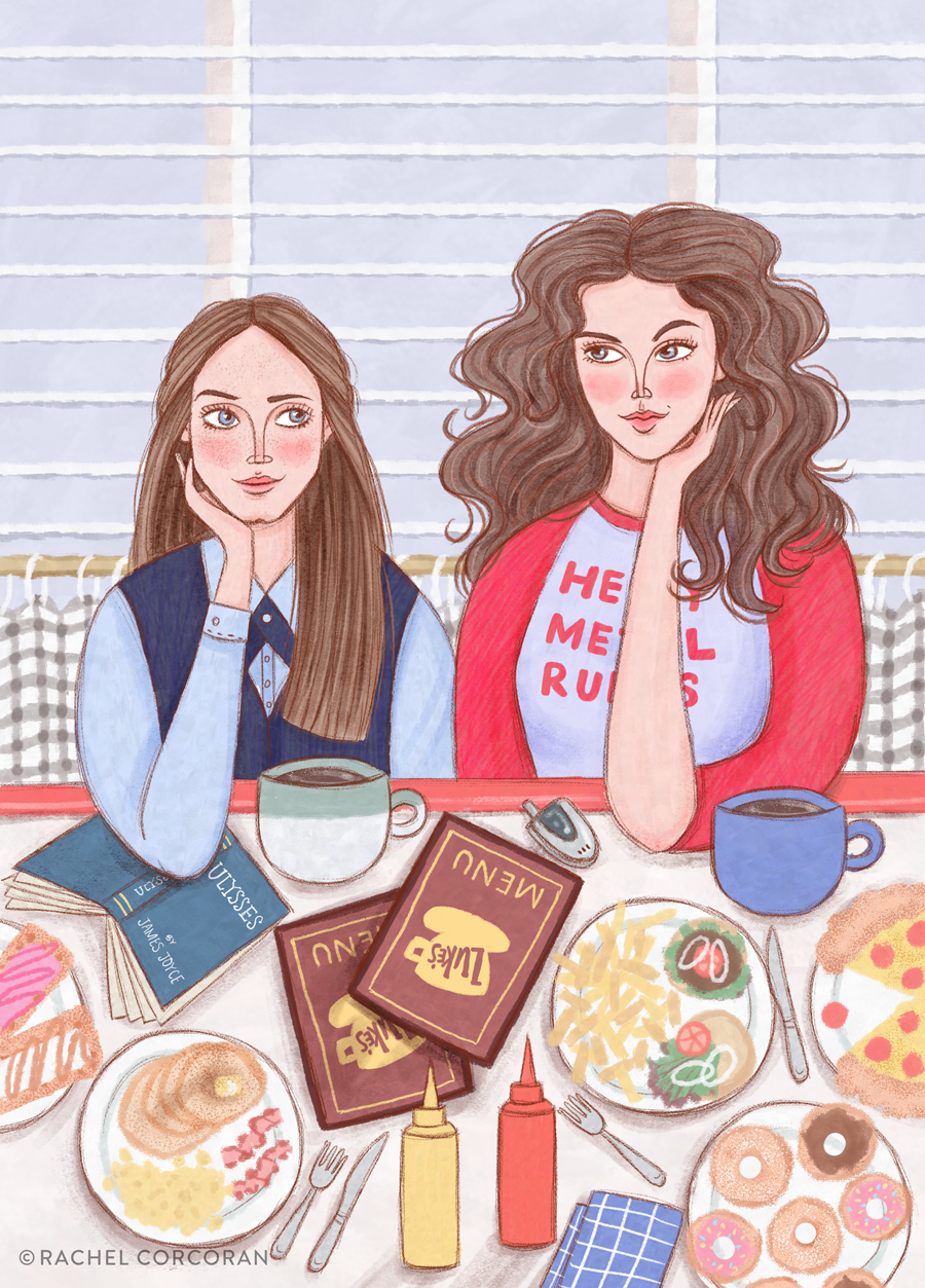 Gilmore Girls Lorelai and Rory illustration by Rachel Corcoran