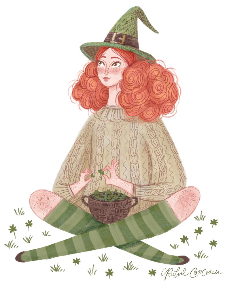 Leprechaun witch illustration by Rachel Corcoran