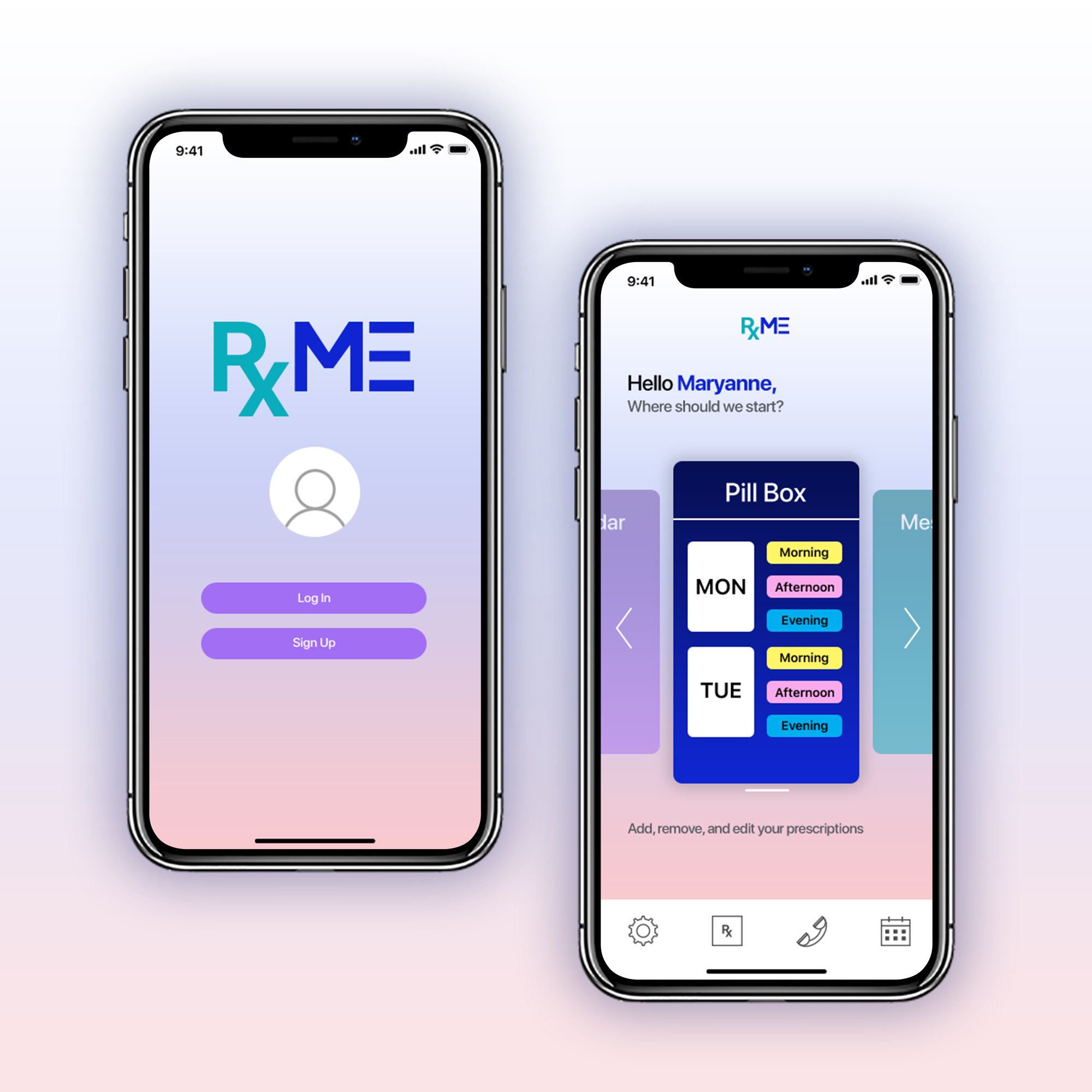 Prescribe Me - Project: Automated Medication AppRoles: Logo Design, Branding Guides, UI DesignAbout: Prescribe Me is an all inclusive application that lets the user fill in his/her medical information and will alert the user when medications need to be taken, refilled, possible interactions with other medications, and give the user the ability to message his/her doctor with any questions. It will also sync up with the users local pharmacy and directly message them when prompted to refill his/her medication.