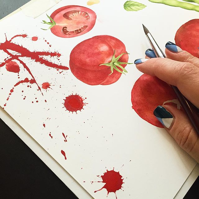 Making a mess ! • • • #watercolor #kunst #inspiration #art #commision #fineart #tomato #splash #watercolour #watrxolorsplash #color #aquarelle #botany #botanicalart
