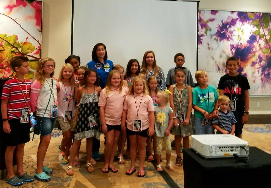 "Nicole Stott's ""crew"" after her exciting talk to the children and spouses of our meeting attendees."