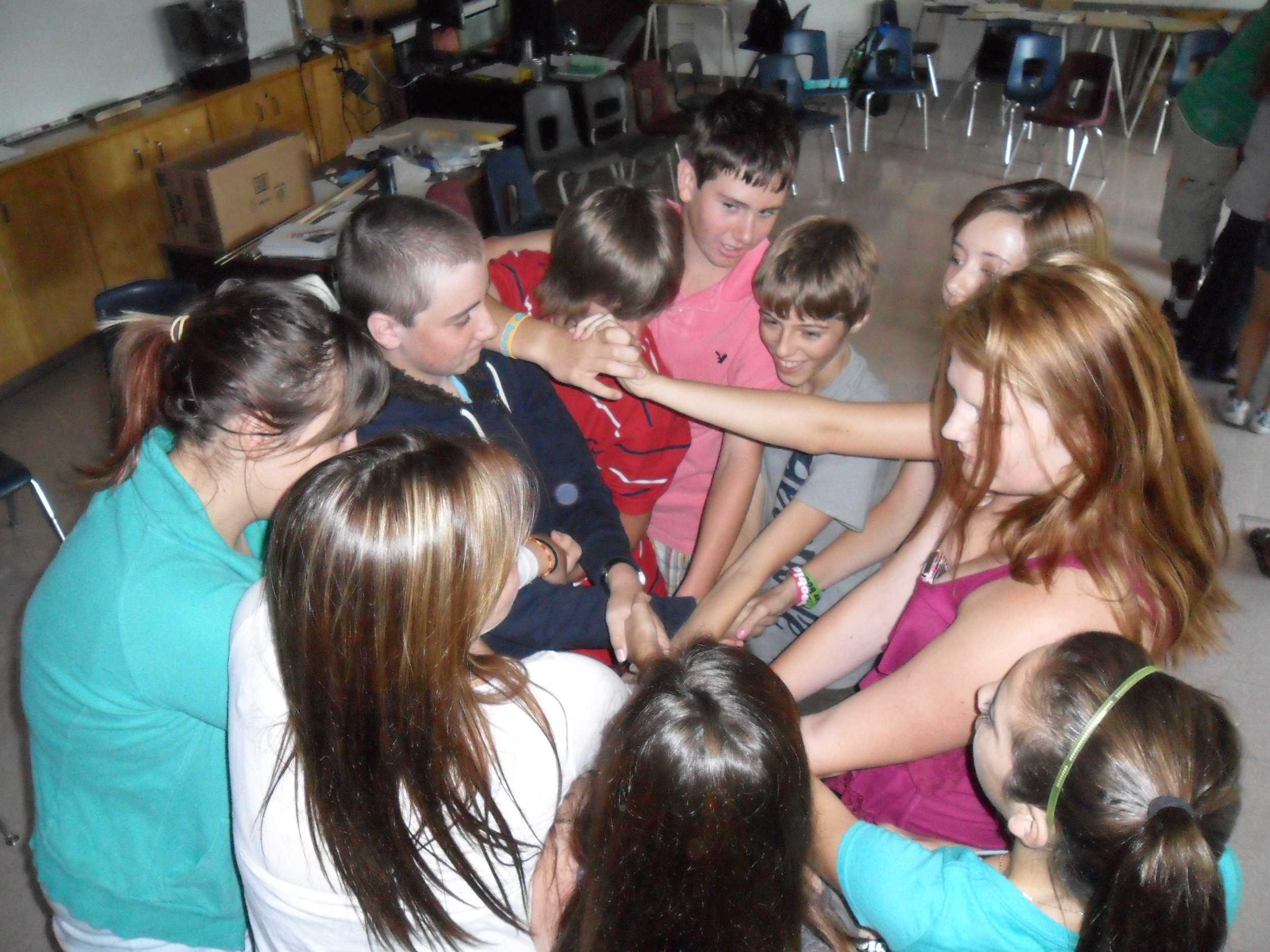 Students participate in numerous team building activities . . .