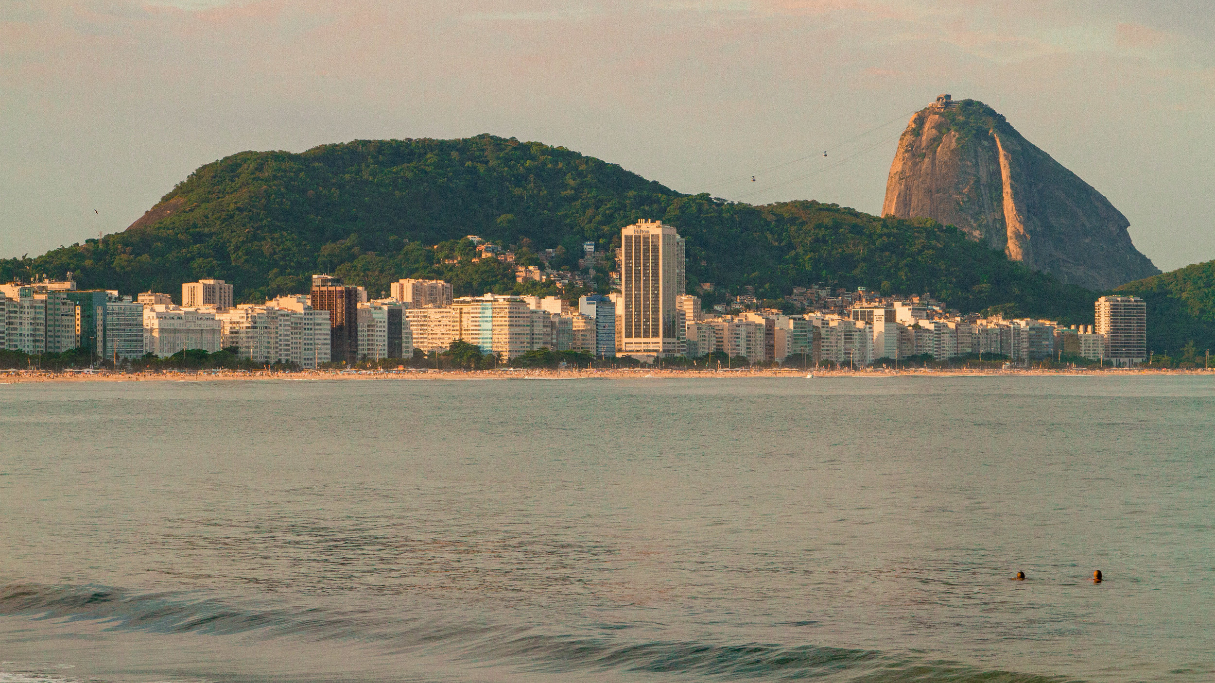 Copacabana Beach with Sugar Loaf in the distance
