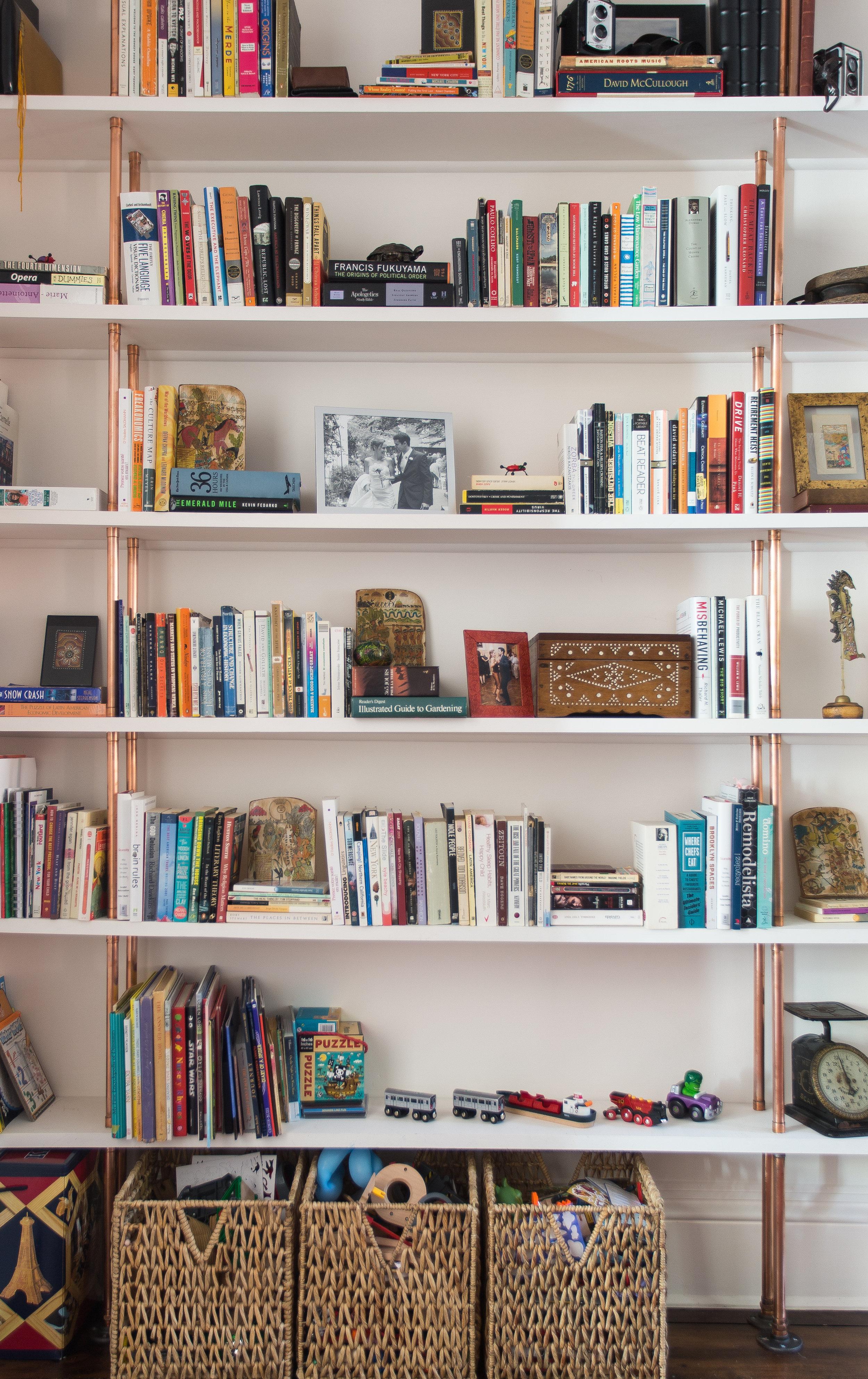 Indigo & Ochre Design Cobble Hill custom copper bookshelves