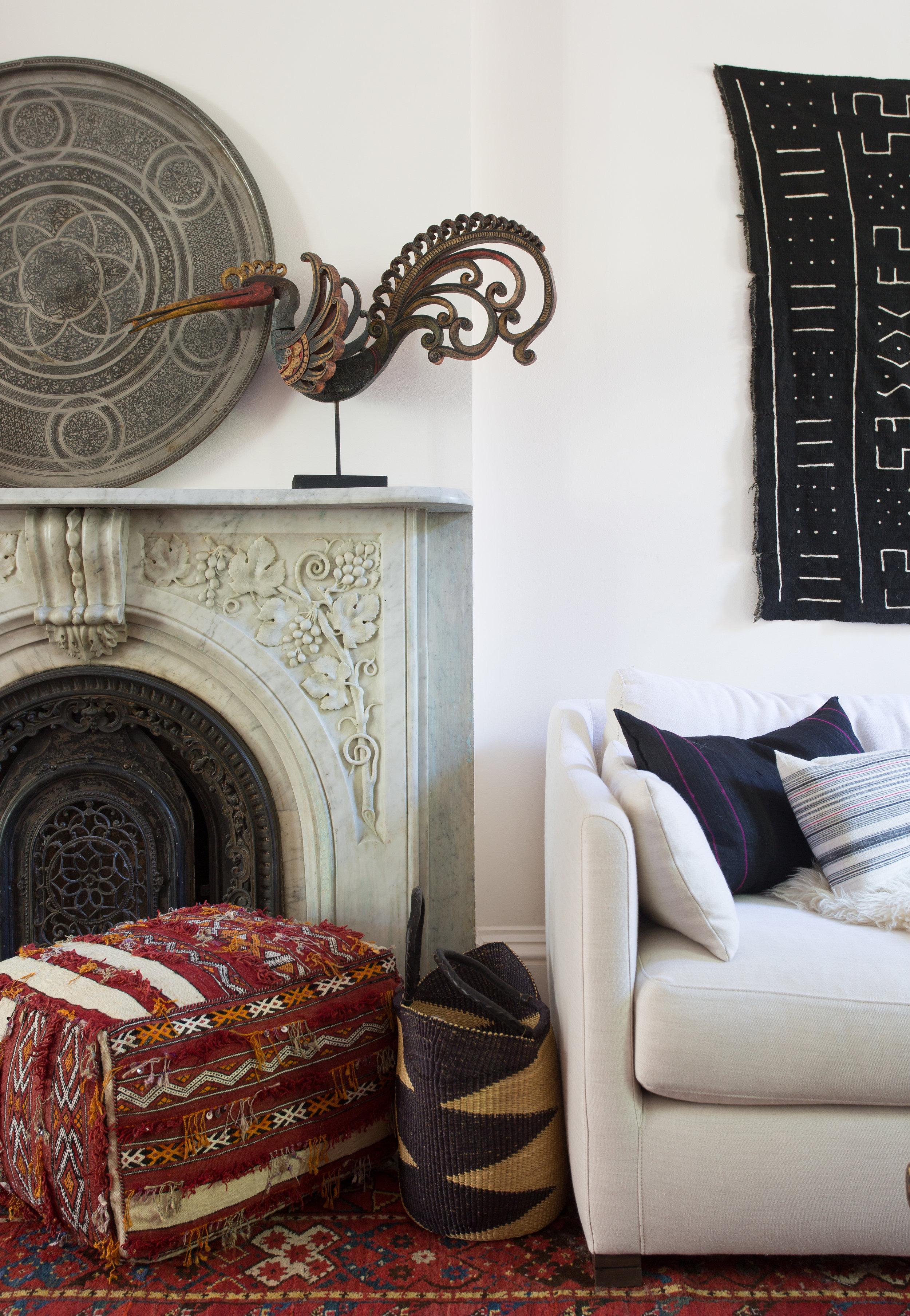 Indigo & Ochre Design Cobble Hill Living Room Fireplace Closeup