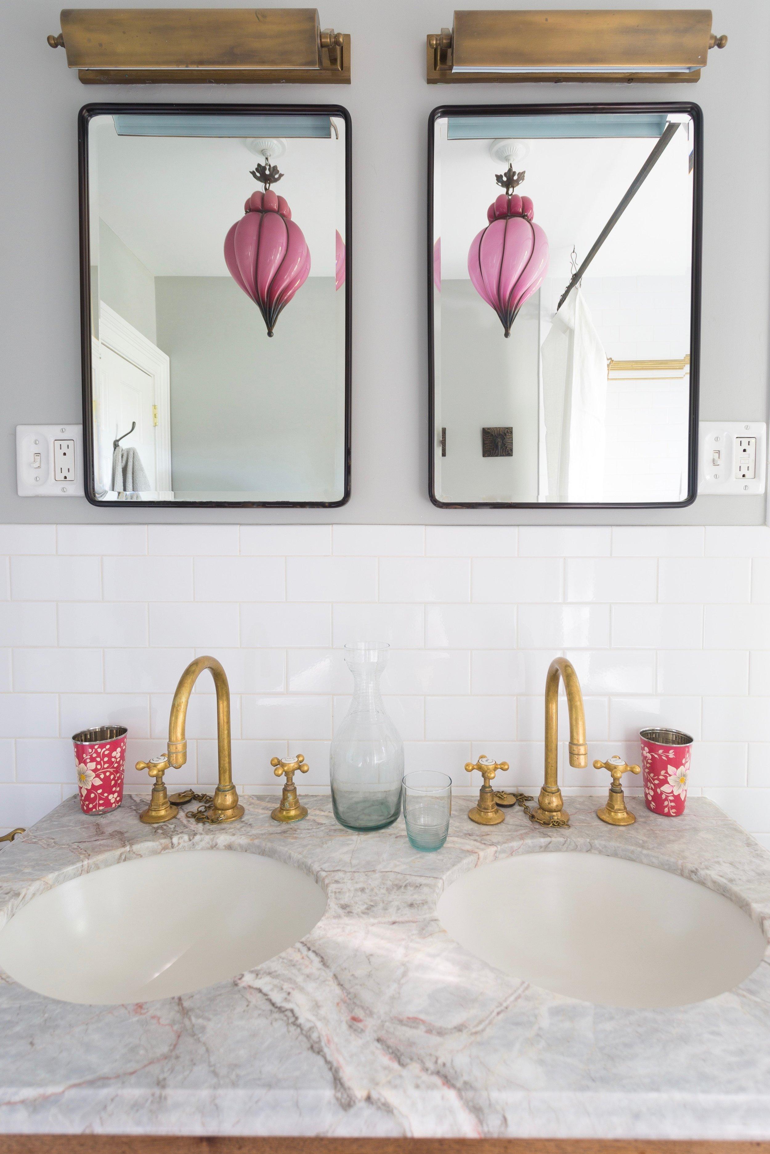 Indigo & Ochre Design Prospect Heights Bathroom Vanity Mouthblown Light Reflection