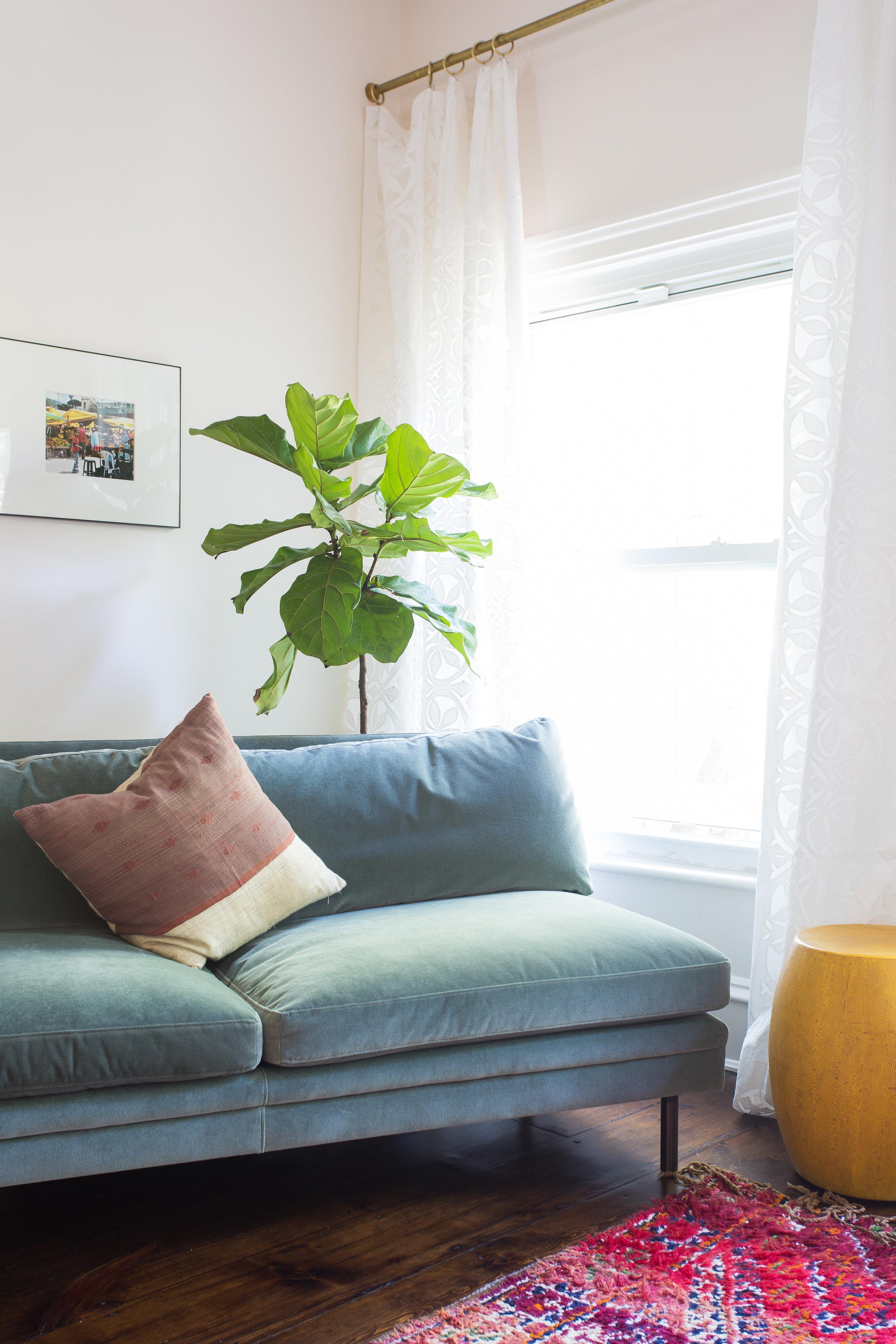 Indigo & Ochre Design Cobble Hill Master Bed Sitting Close Up