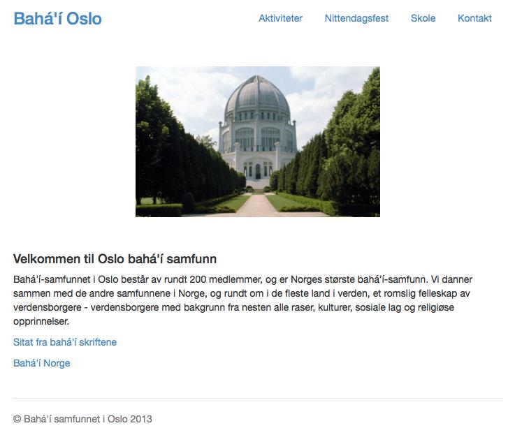 Bahá'í-samfunnet i Oslo - Klikk her for å gå til deres lokale nettside.