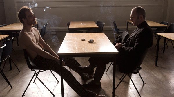 Michael Fassbender (right) with Liam Cunningham (right) in Steve McQueens Hunger