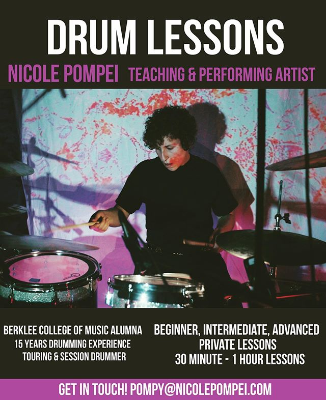 Calling all #drumstudents! I am now accepting a small roster of students for private drum lessons. I'm offering 30, 45, and 60 min time slots via Skype or in my home studio in Philly with special rates for July. We'll learn about technique, grooves, rudiments, feel, time, and whatever else you're interested in to help you achieve your goals. Hit that link in my bio to book a time slot or hit me with any questions: pompy@nicolepompei.com.
