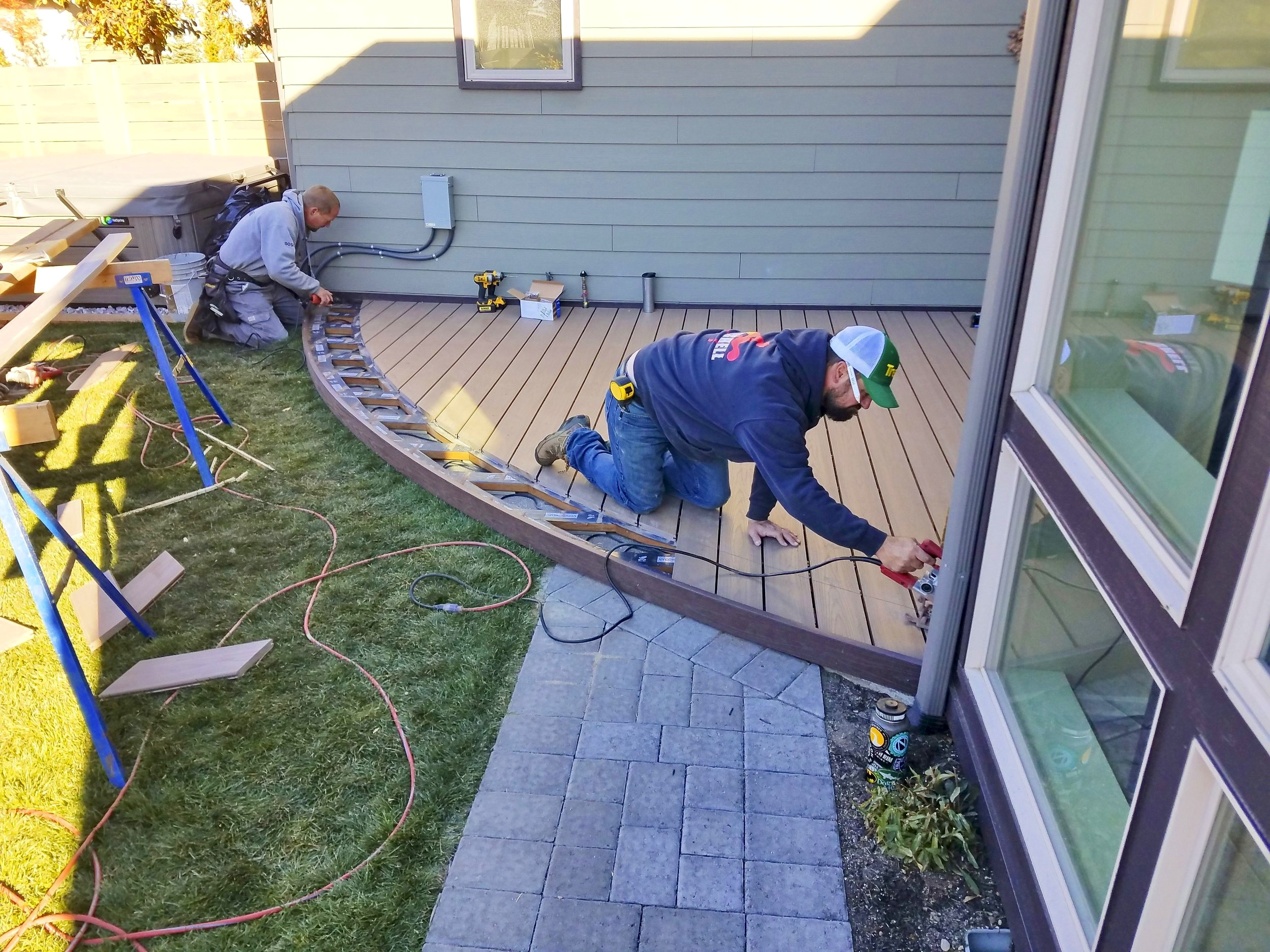 Install - After a heat bent PVC decking plank has cooled it will hold its shape permanently and can be installed in the same manner as any other straight PVC plank.
