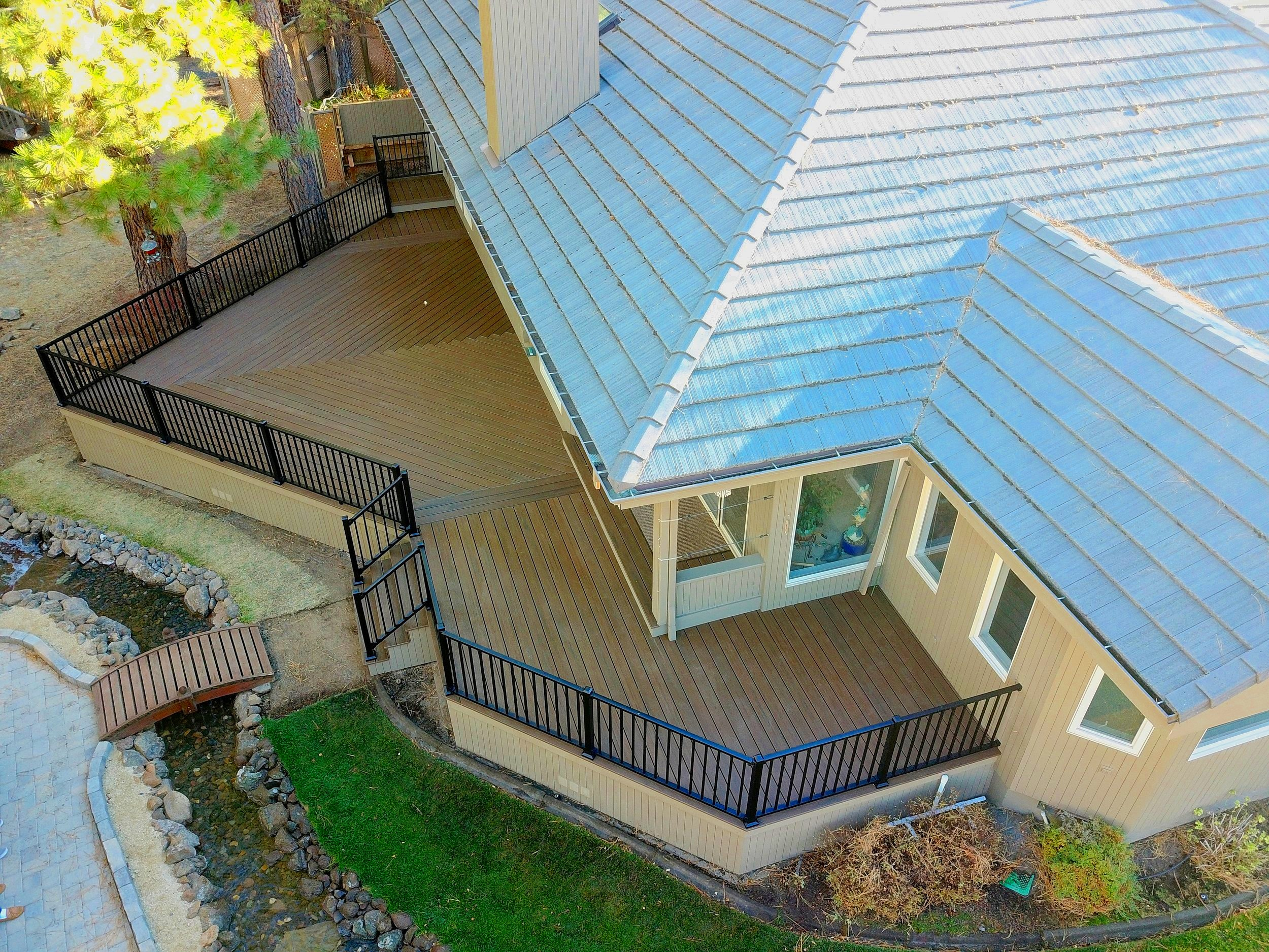 Skirting - Deck skirting is an optional wall that is built along the deck's outer edge and used to enclose the area underneath the deck. Some deck owners choose to leave this area entirely open while others choose to leave it open but ask to have any exposed posts and beams wrapped thereby accomplishing a more finished look.