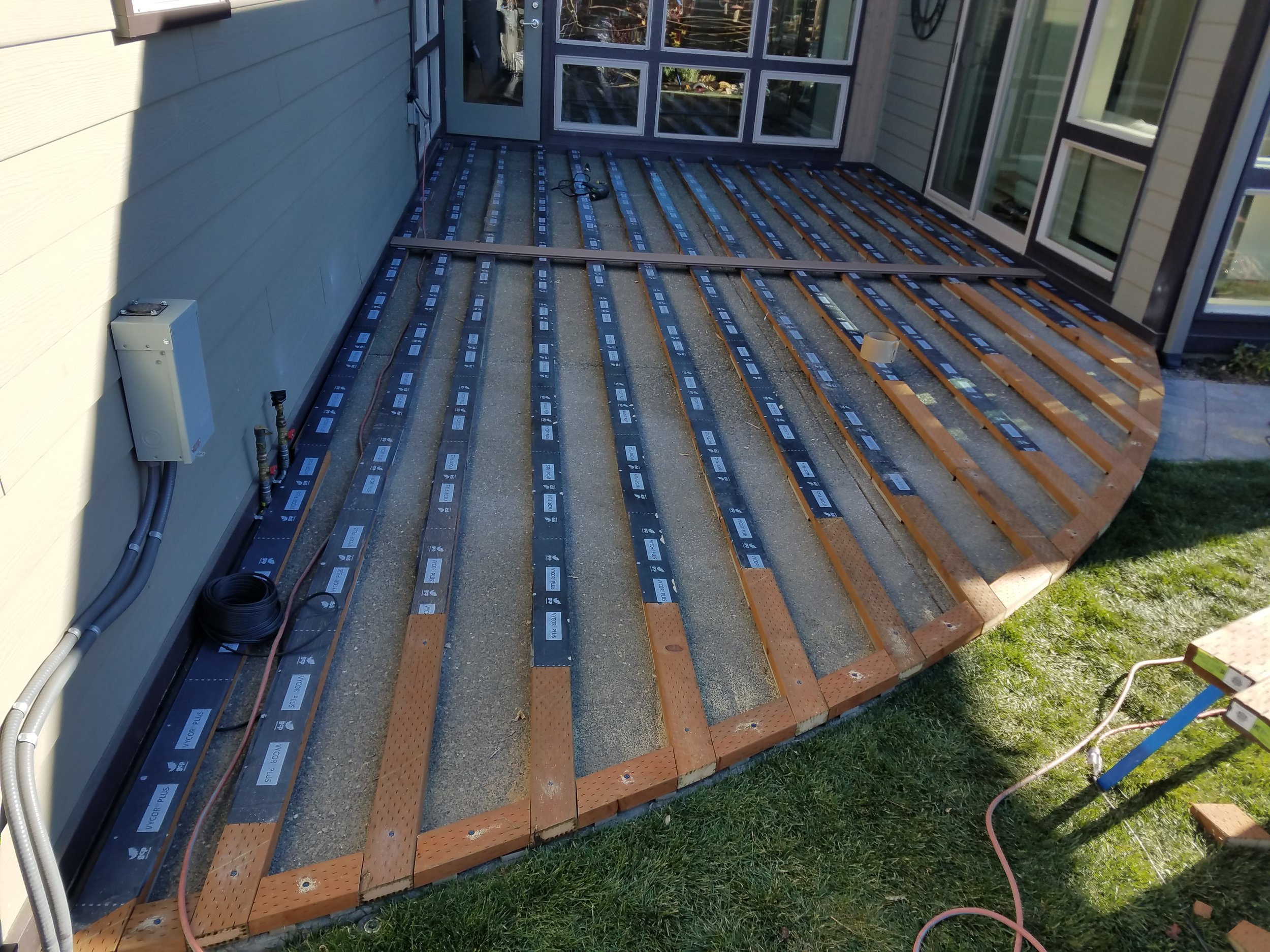 Flashing Tape - A deck built using a wooden frame will benefit from the installation of joist flashing: a special tape that is applied across the top edge of the deck joists and/or beams. Its function is to help protect flat wood surfaces against future frame damage caused by moisture. The addition of flashing tape will surely add years of life to any deck frame.