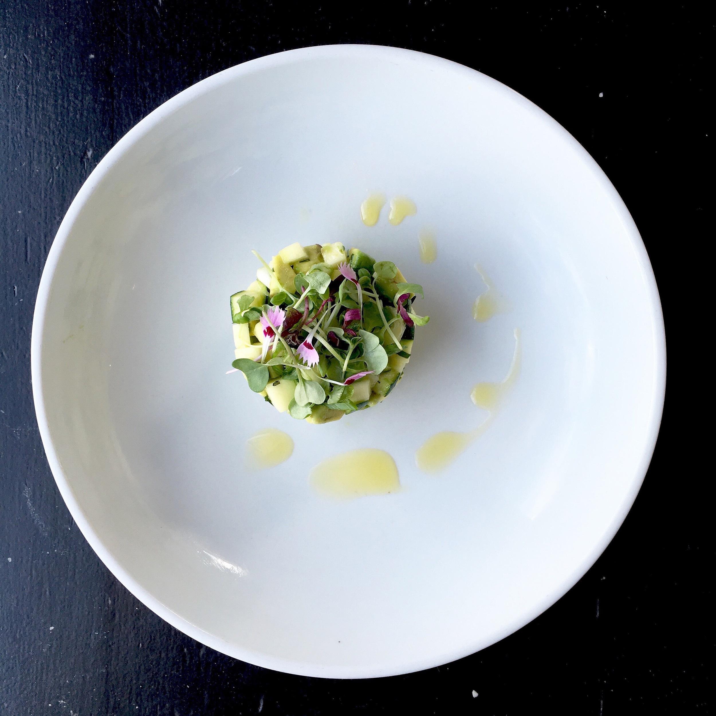 Zucchini Tartare // Zucchini / Avocado / Microgreens. This dish is light and refreshing!
