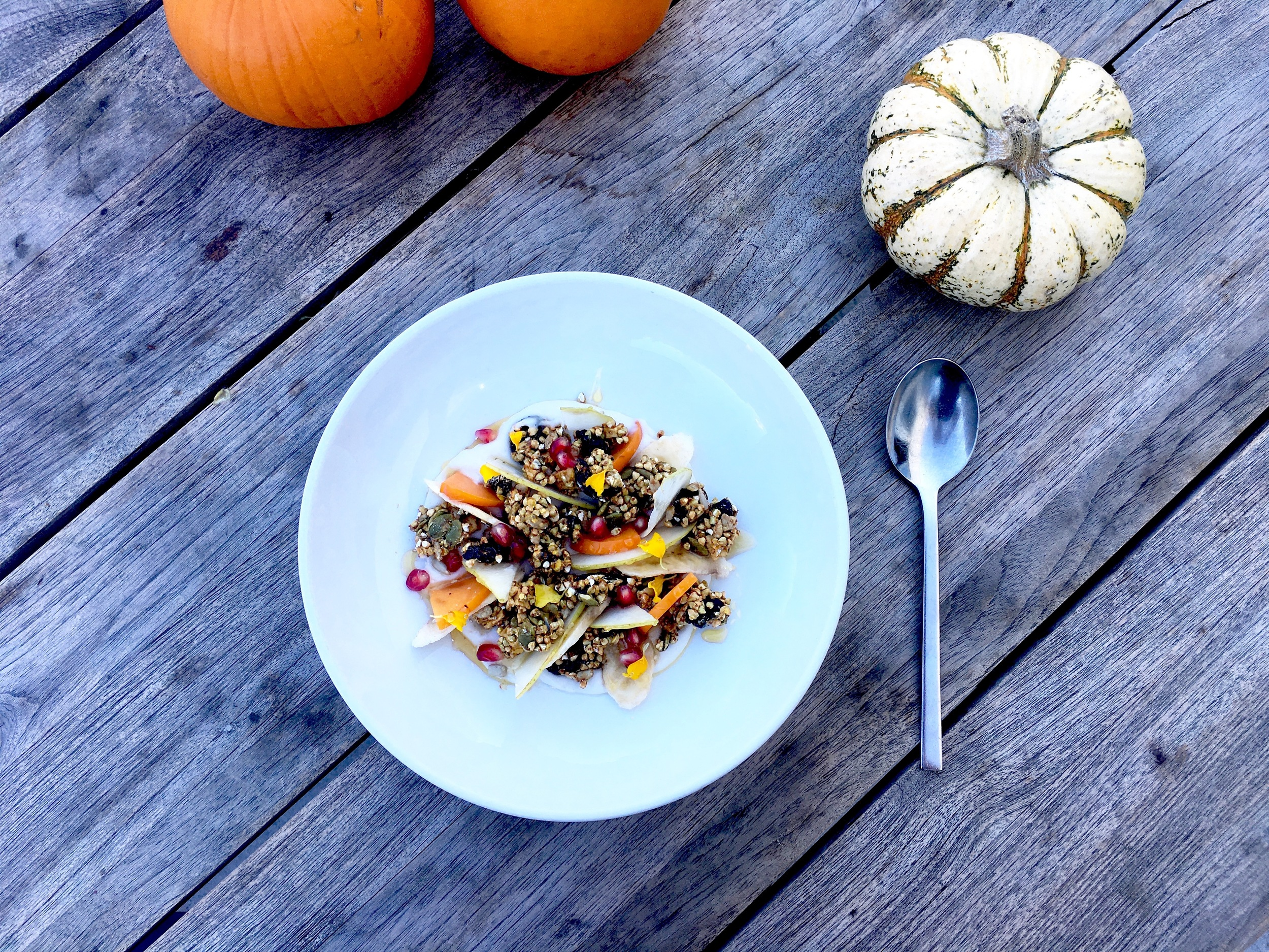 COYO (coconut yogurt) /Sprouted buckwheat granola / Persimmons / Pomegranate / Pears