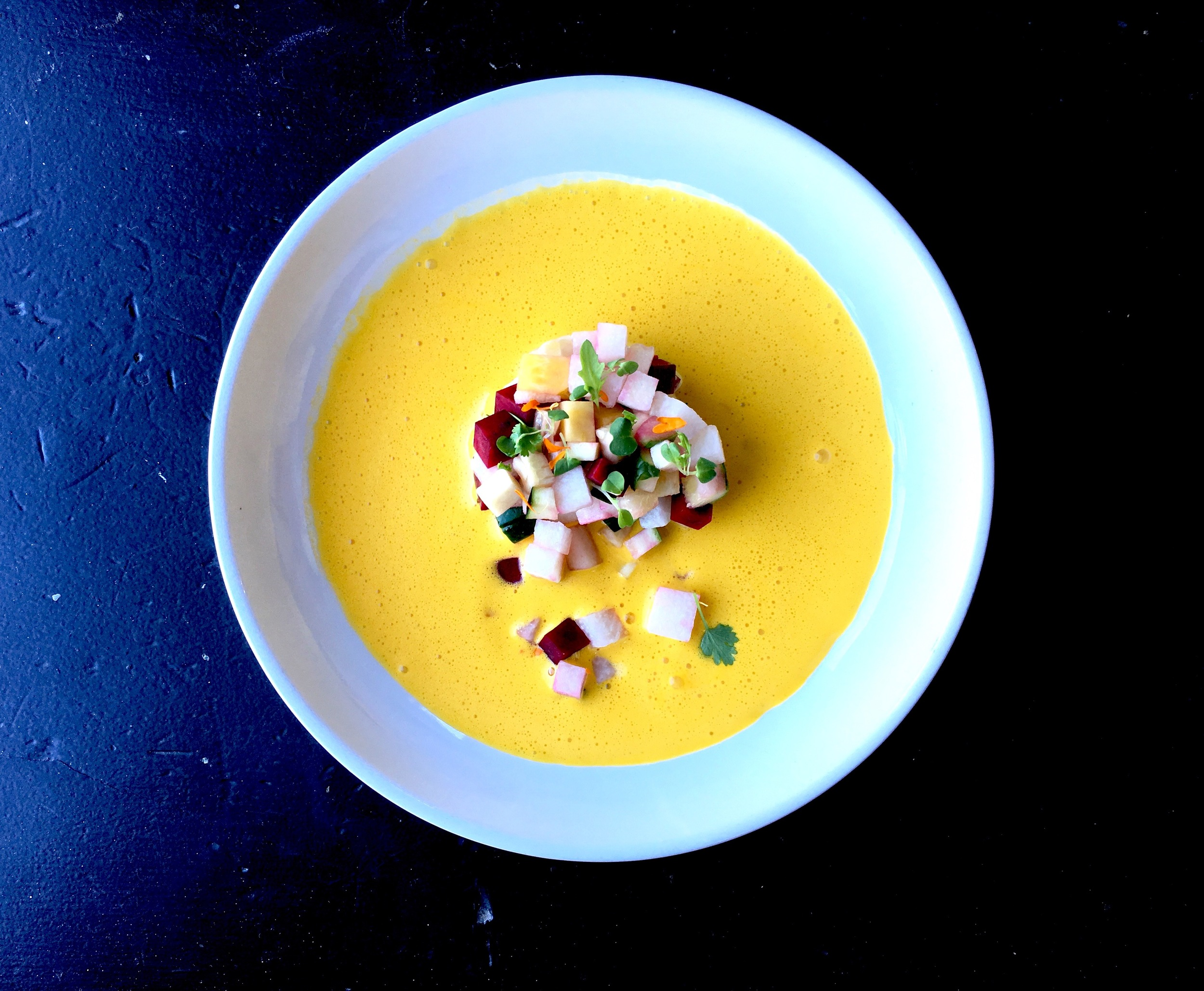Carrot Soup // Carrot Juice /Almond shallot milk / Lemon vinaigrette / Chili oil. Throw in any leftover veggies into the soup! Great way to clear out your fridge!