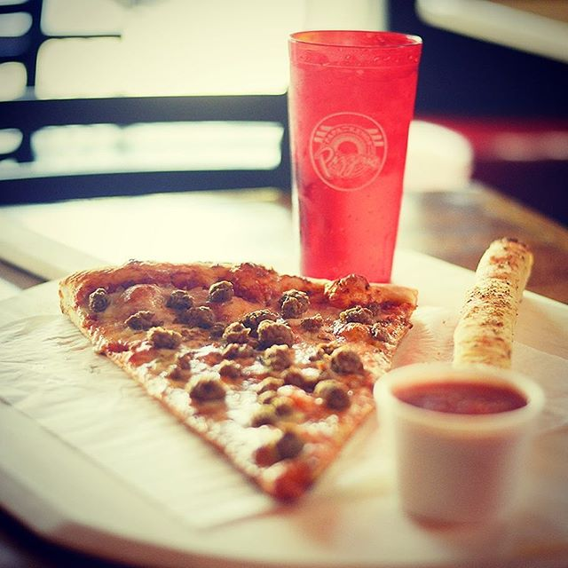"Monday Special!  Any GIANT 13"" 1-topping slice, breadstick & drink - only $5.50!!! #papakenoslawrence #asliceasbigasyourface"