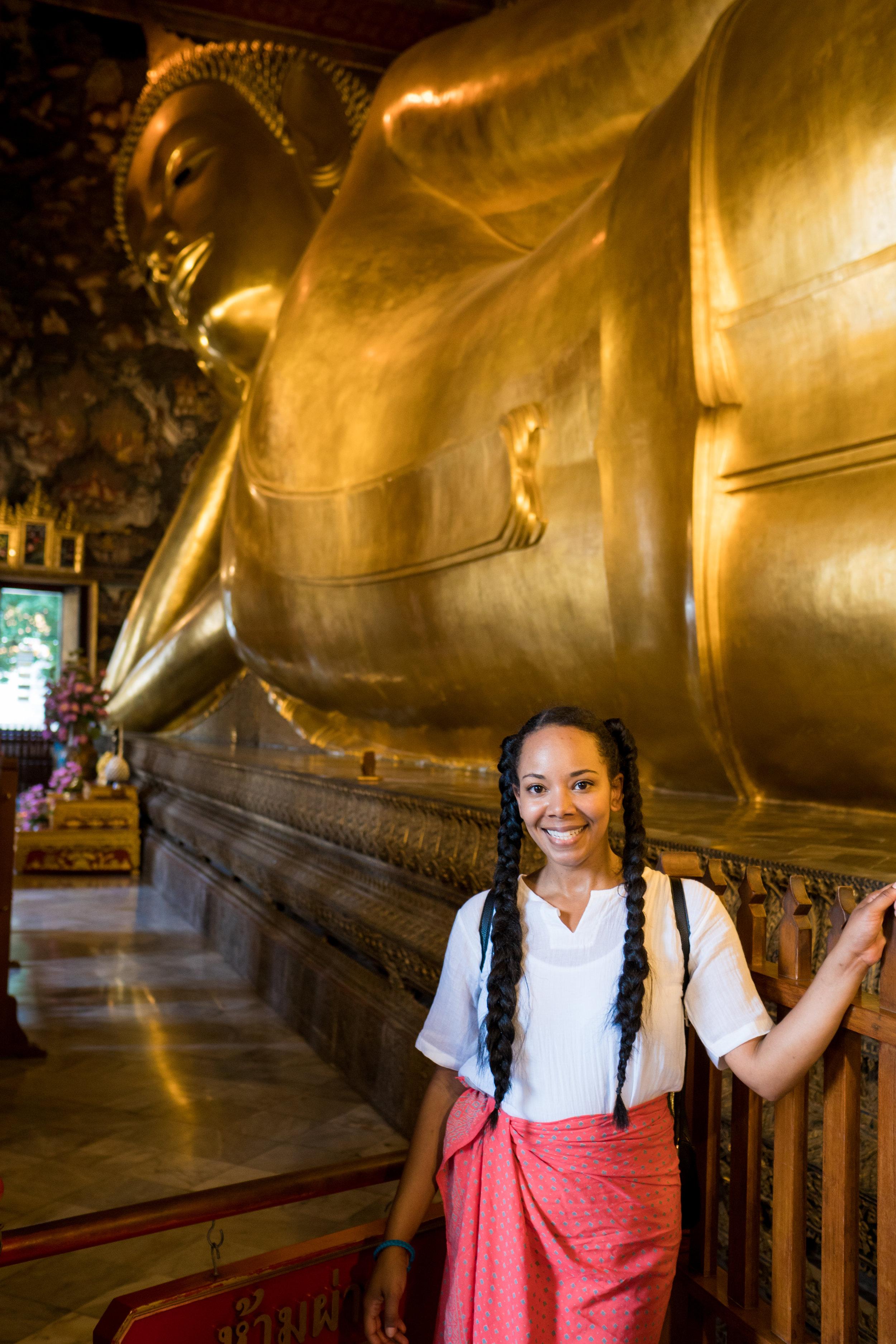 Tiffy at Reclining Buddha in Thailand
