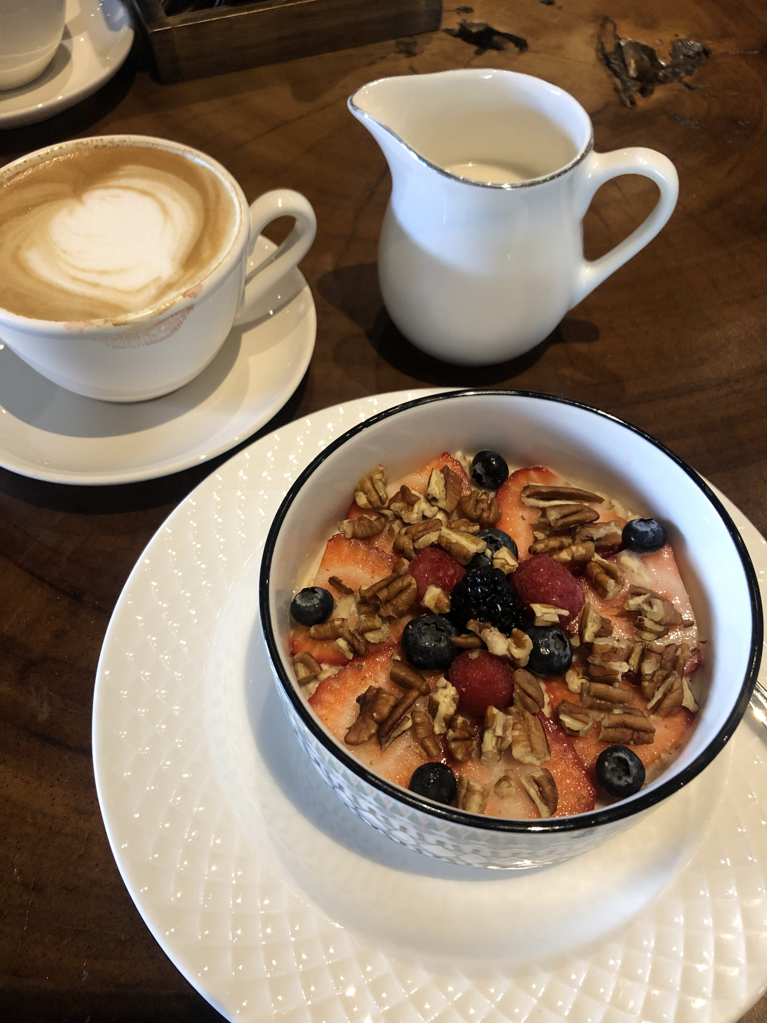 Photo: Latte and Overnight oats with almond milk