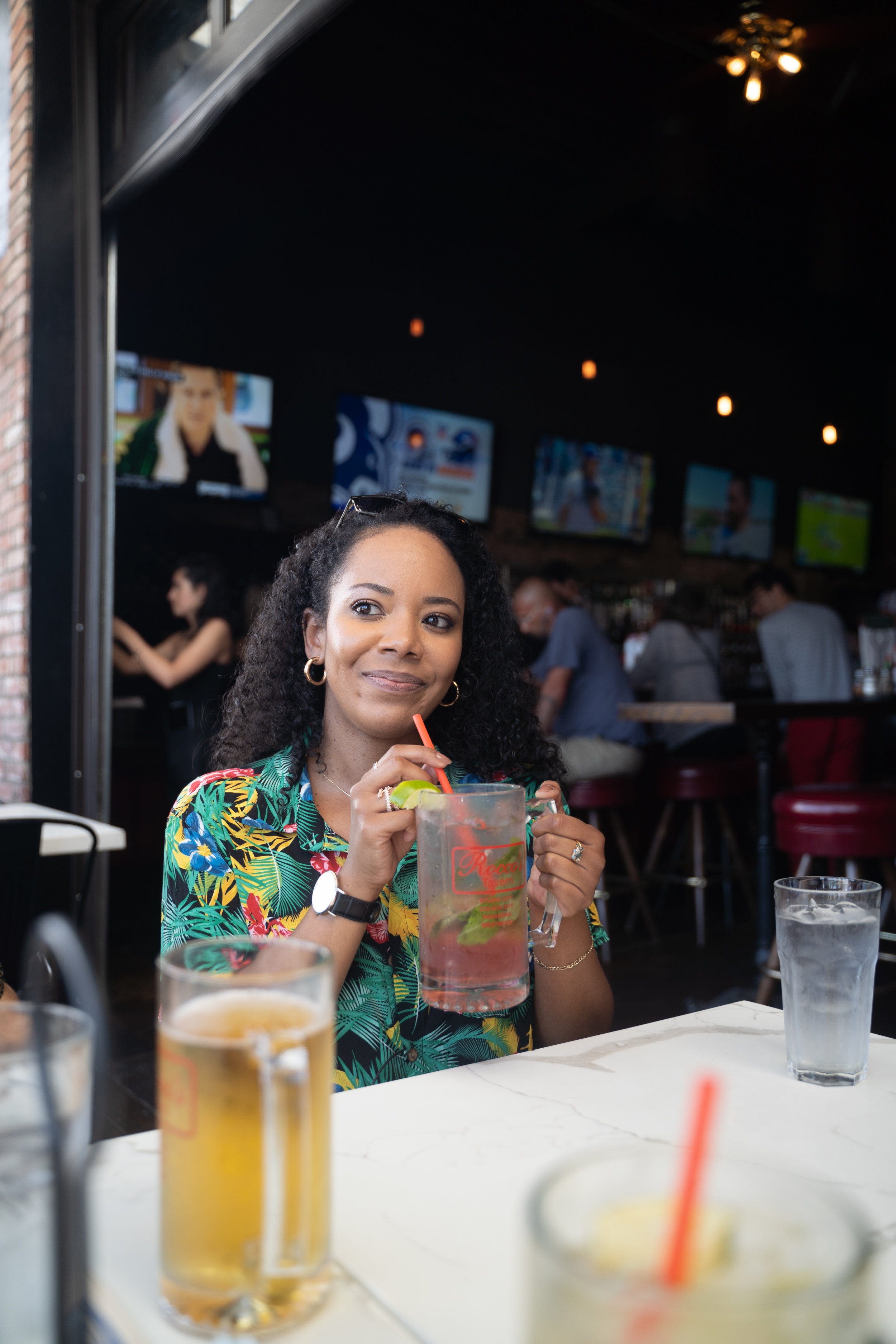 Tiffy Drinking a watermelon mojito at Rocco's Tavern