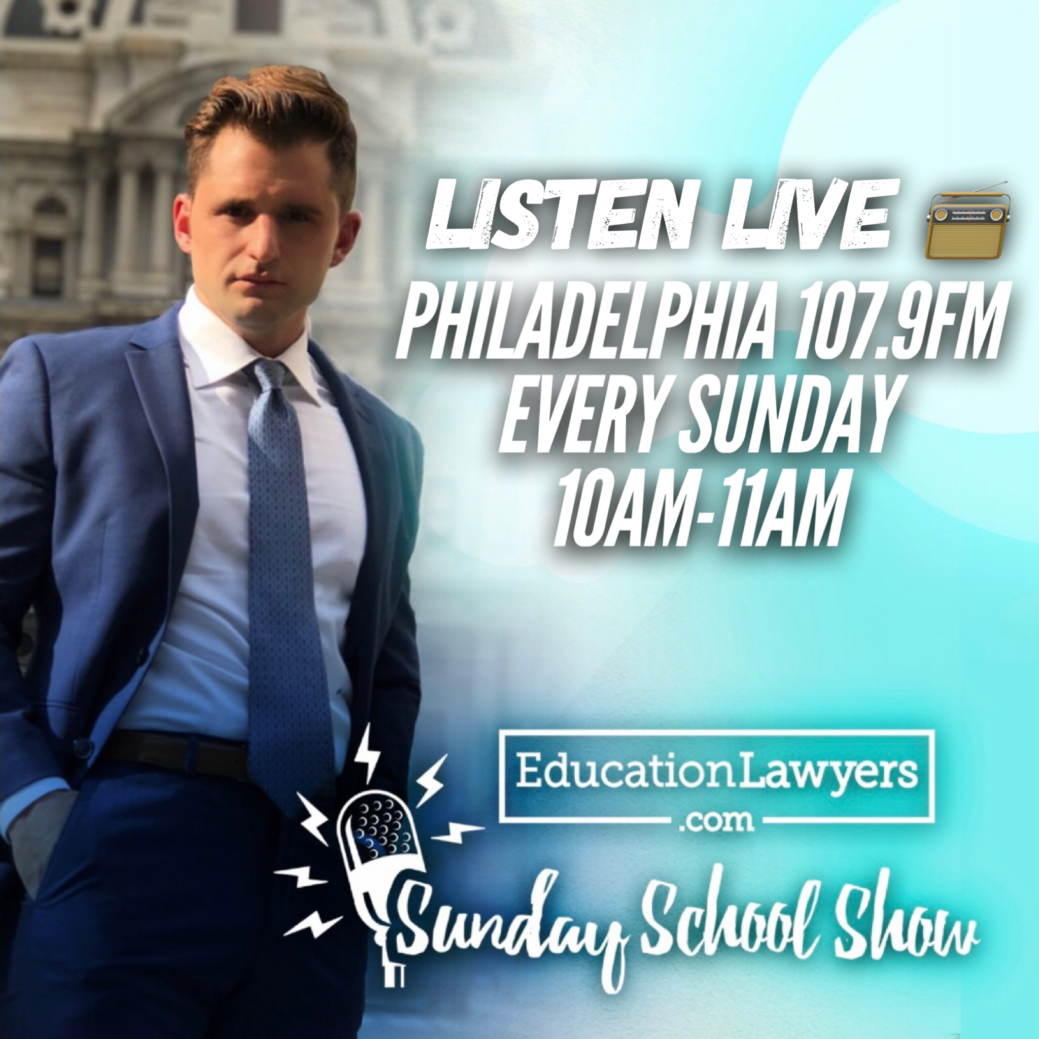 "Check out Joe Montgomery live on the radio every Sunday from 10am-11am on Philly 107.9FM - The ""Sunday School Show,"" Talking ALL things Education!"