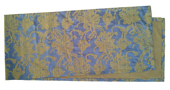 """Poppies, stone on blue dupioni table runner, 75"""" x 16"""""""