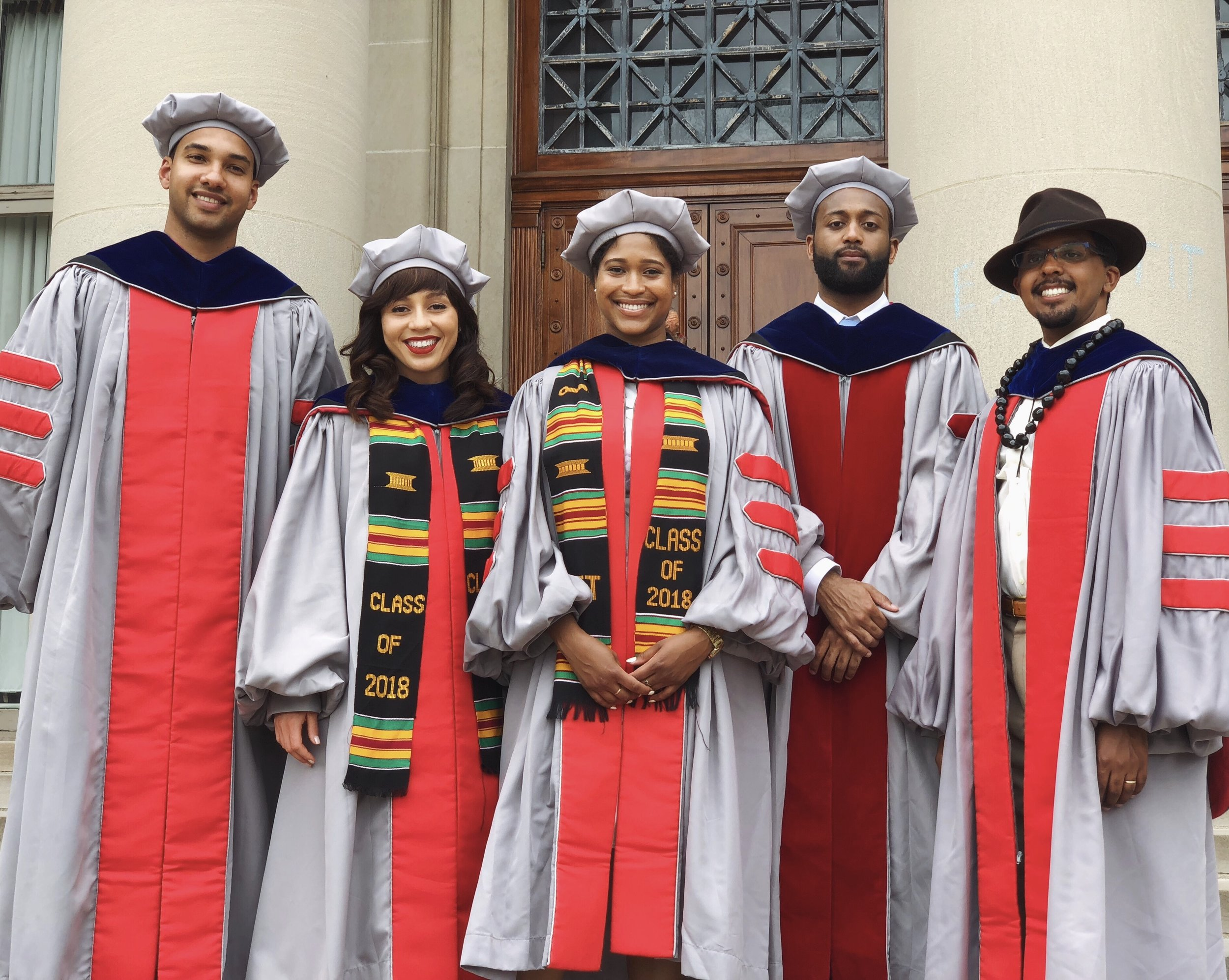 2018 black phd graduates (L-r) Charles mackin, electrical engineering and computer science; mareena robinson snowden, nuclear science and engineering; tsehai grell, chemistry; david hill, media arts & science; Andrew jones, Mechanical engineering