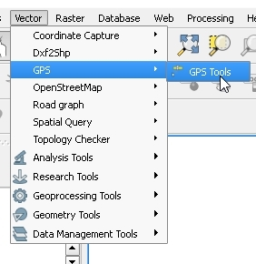 "1 - Select the ""Vector"" layer toolbar, GPS, GPS tools"