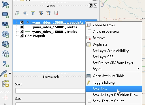 """5 - Now find the """"waypoint"""" layer in the layer menu on the left side of your screen. Right click the waypoint layer from your GPX file, and select """"save as"""""""
