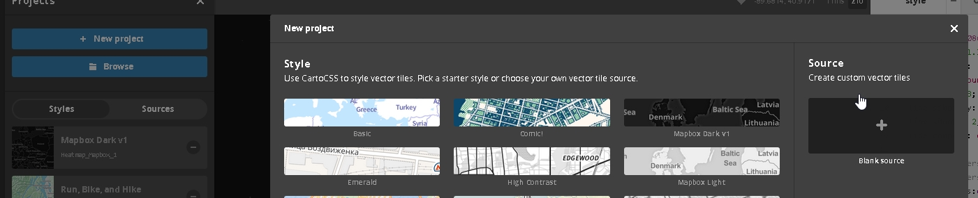 """1 - Open Mapbox Studio, and click the icon in the bottom left corner """"Project"""". Then Click the blue """"New Project"""" button. Finally, in the new project window, select """"Source"""" """"Blank Source"""""""