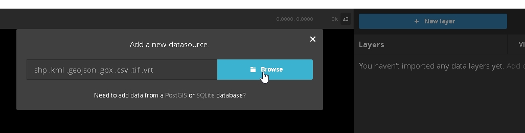 """2 - In the new project, upload your shapefile as a new layer by clicking the """"New Layer"""" button and selecting your shapefile from your project directory."""