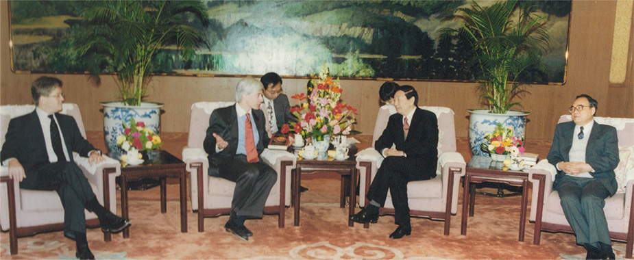"In meetings with Premier Zhu Rongji (dubbed in the 1990s ""China's Economic Tsar"")"
