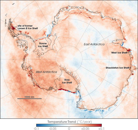 Scientists from NASA's Goddard Space Flight Center  have been working for several years to create and refine a satellite map of long-term temperature change in Antarctica. This image illustrates long-term changes in yearly surface temperature in and around Antarctica between 1981 and 2007.    Places where it warmed over time are red, places where it cooled are blue, and places where there was no change are white.