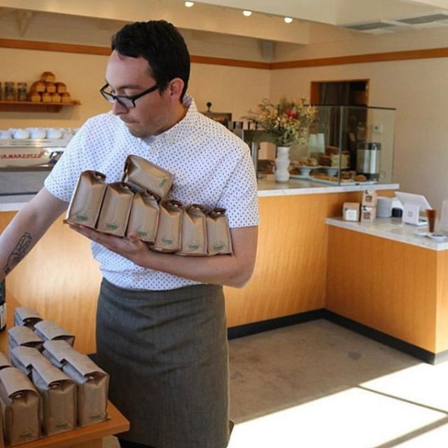Hands full of @bouquetcoffeeroasters beans @themillsacramento and looking good in our half aprons.👌 — Can't wait for a little time off to visit a cool river and stop by this place out in Sacramento.☀️ — P.S. you can also pick up an Ebb while you're there! 💛