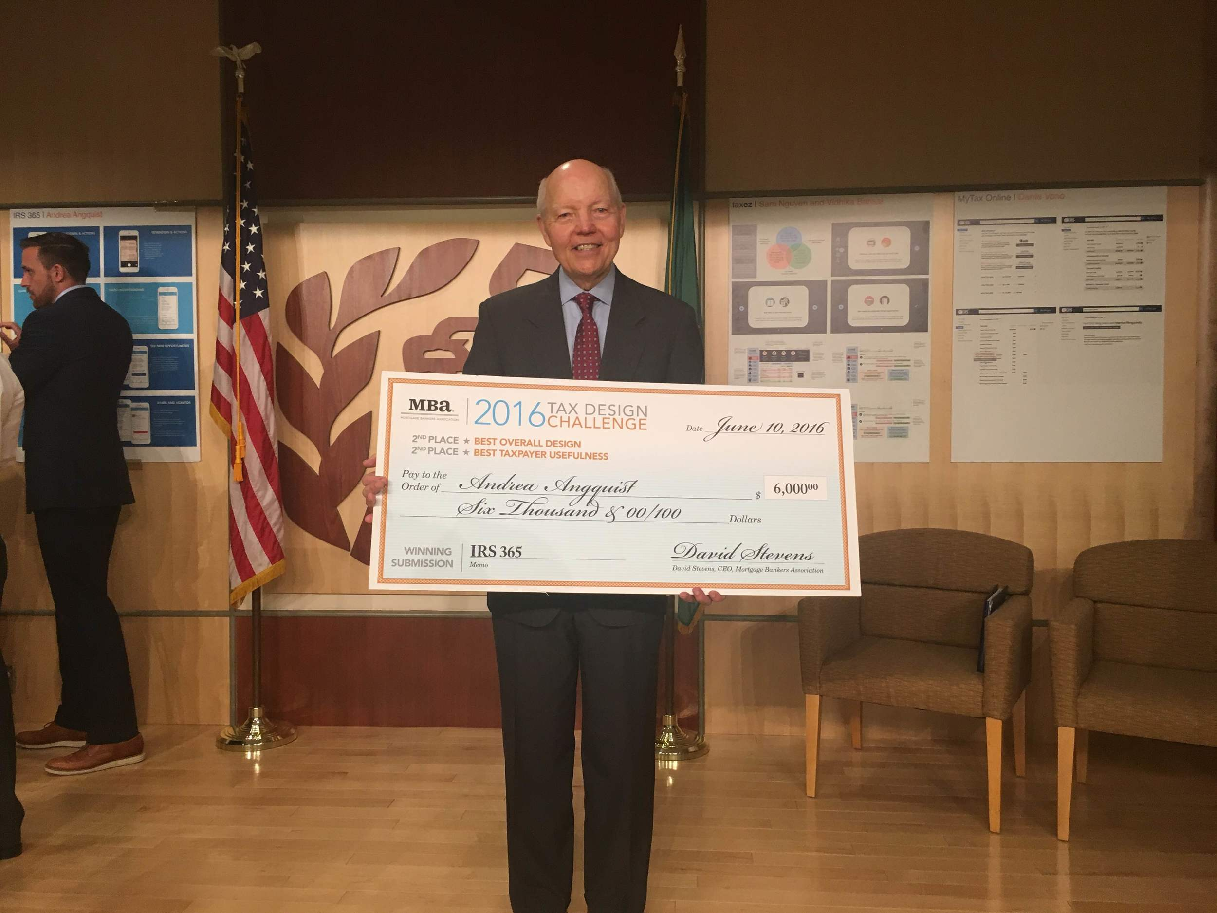 Here's the IRS commissioner with my giant check.  Currently the giant check resides somewhere in the IRS main headquarters, but I'd love to bring it home.  Ping me if you're ever passing through DC and have room in your luggage;)