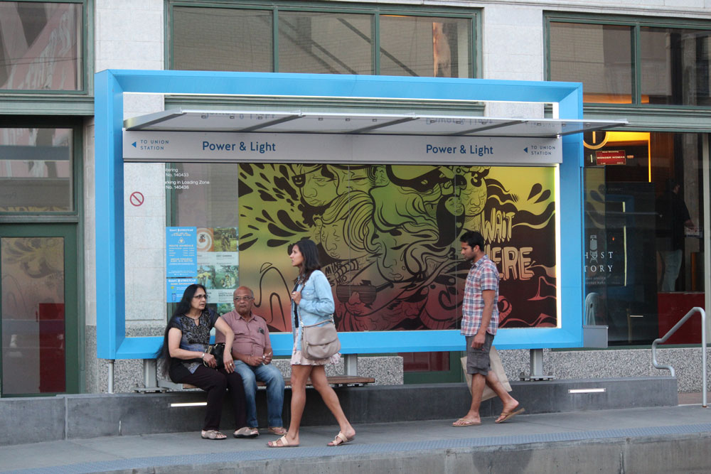 "Art In The Loop 2017 -"" Wait Here"" (Vinyl art installed on street car stop on 14th & Main)"