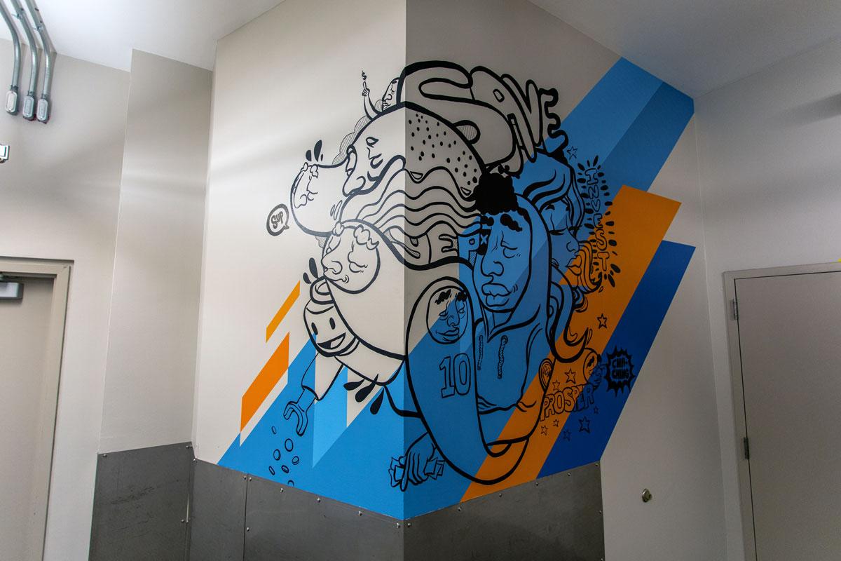 """Save/Invest/Prosper"", interior mural for UMB's School of Economics, JT Daniels & Sikestyle 2019"