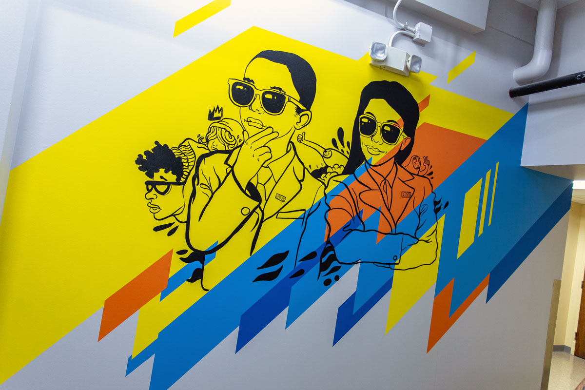 """""""Looking towards a successful future""""-Interior mural for UMB's School of Economics, by JT Daniels & Sikestyle 2019"""