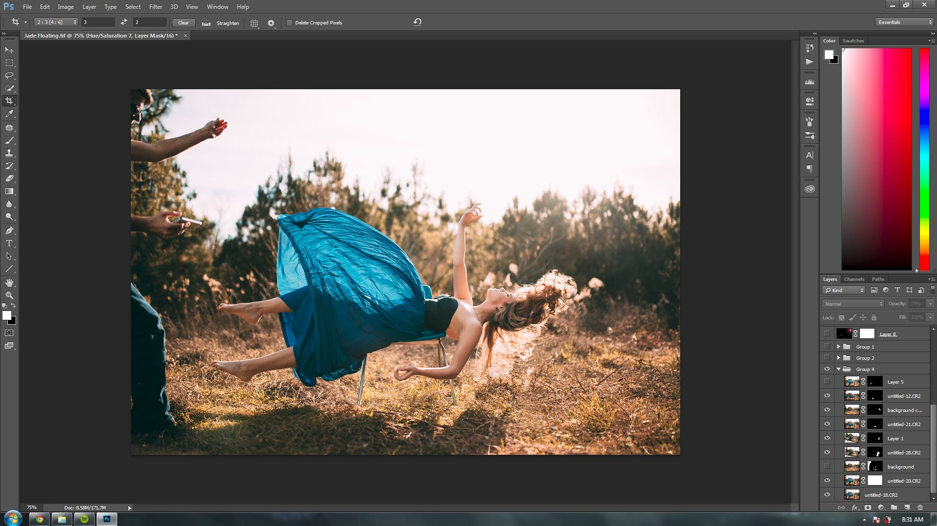 Next step was to combine the images that I liked, the hand, the hair, and the dress flip, into one photo.