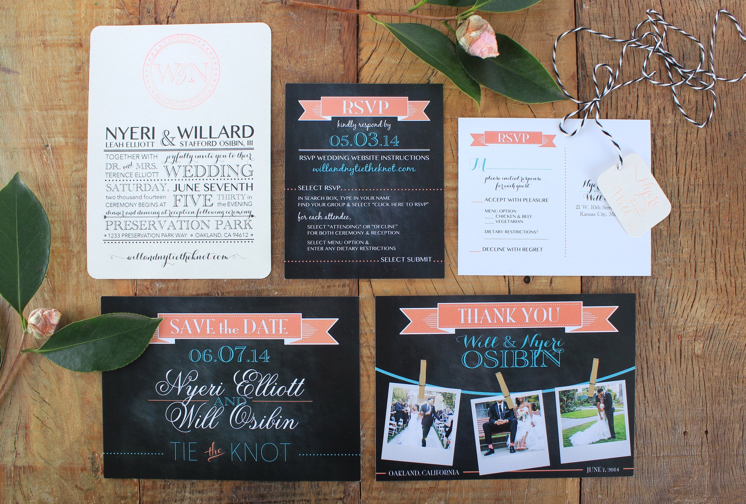 wedding invite with rsvp, save the date, and thank yous